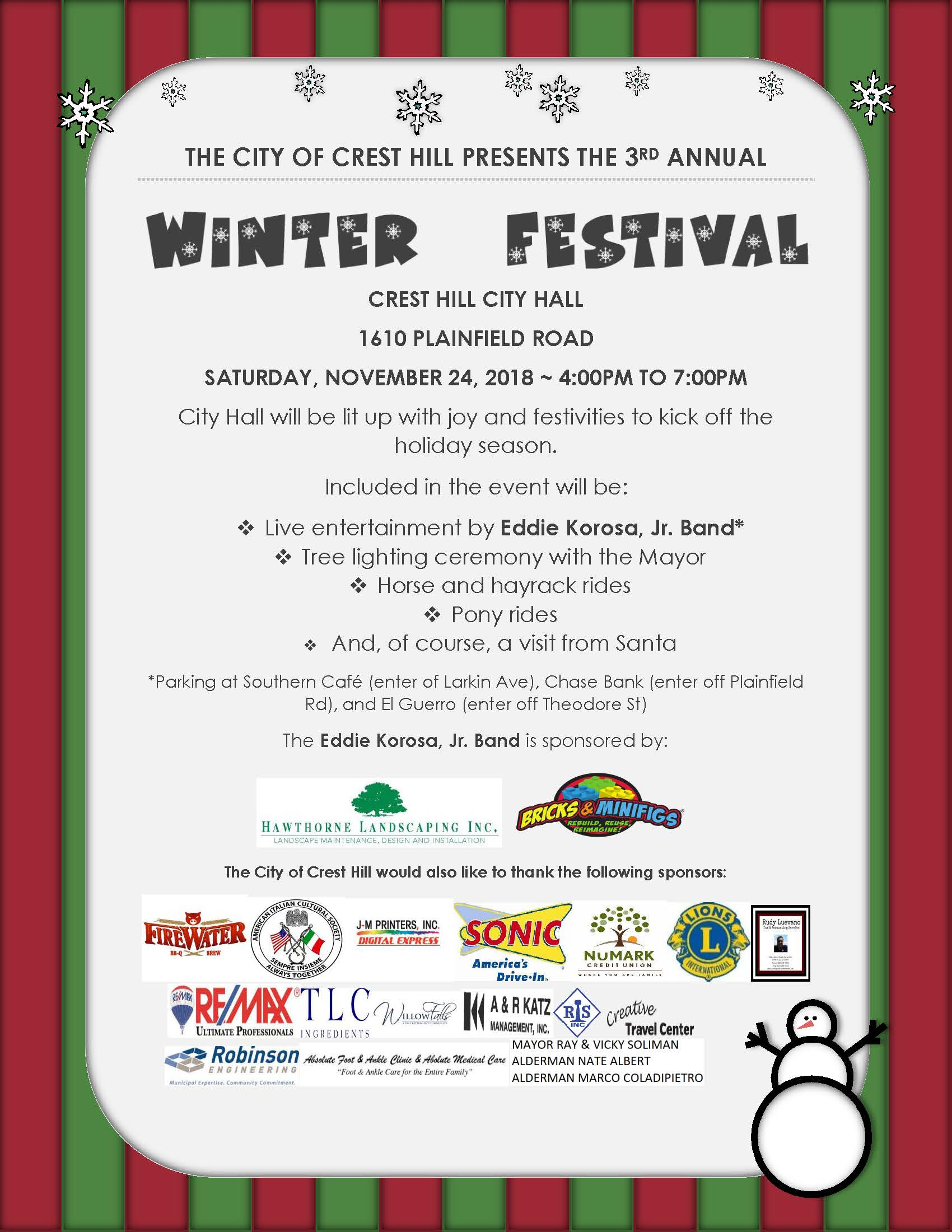 THE CITY OF CREST HILL WINTER FEST